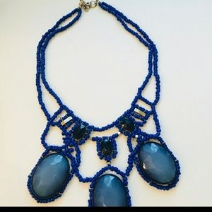 Anthropologie blue beaded statement necklace